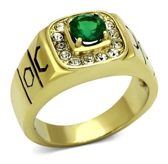 Anel Formatura Verde Esmeralda Folheado A Ouro 18k Luxo