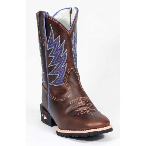 Bota Infantil Made In Texas B-79 3003 Azul Pull Up Brown - F