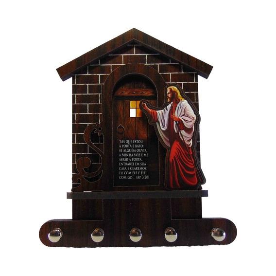 Porta Chaves Em Madeira, Jesus Batendo Na Porta Com 5 Pinos