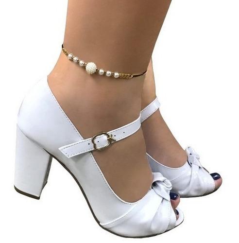 Imagem 1 de 1 de Sapato Salto Médio Alto Peep Toe Verniz Noiva Tira Fivela Nf