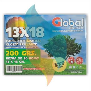 Papel Fotografico 13x18 200gr Glossy X20u Brillante Global