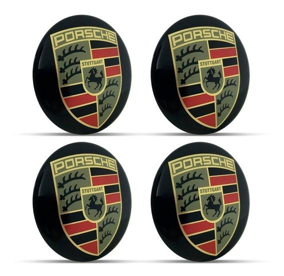 Jogo 4 Emblema Logo Adesivo Roda Porsche 58mm