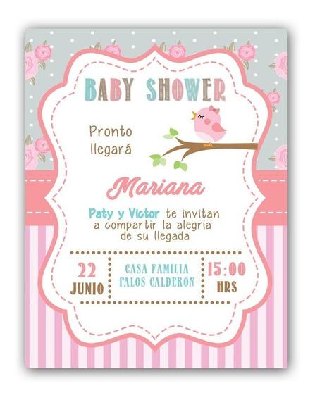 Invitaciones Digitales Baby Shower Niña Vintage Pajaritos