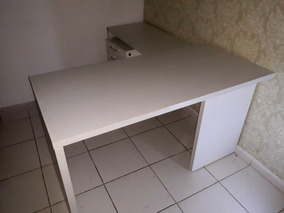 Mesa Para Escritório Madeira Branca Em L Tok Stok
