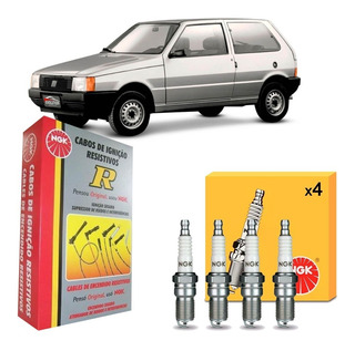 Jogo Cabos + Velas Fiat Uno 1.3 Gasolina 85 86 87 88 89