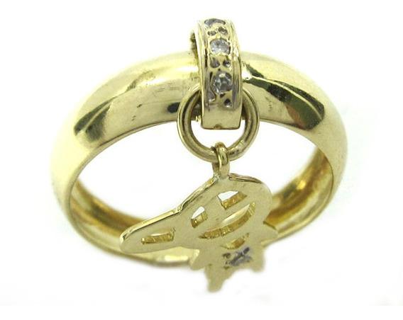 Joianete A8990-72417 Anel Ouro Ovalado Bonequinho Diamantes
