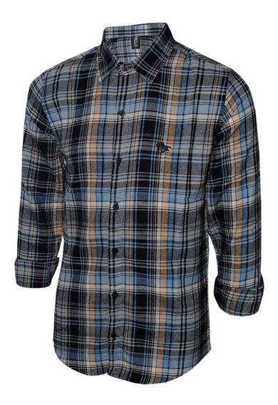 Camisa Masculina Polo Rg518 Xadrez Em Flanela