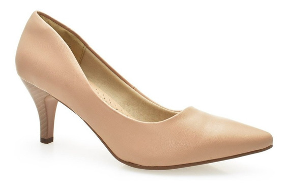 Sapato Scarpin Salto Médio Fino Bico Fino Confortável Facinelli 62501 Areia