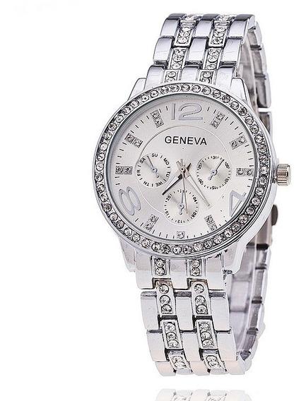 Relógio De Pulso Feminino Geneva Prata Com Strass Luxo Lindo