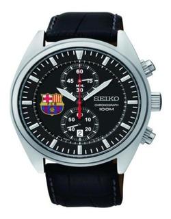 Reloj Seiko Snn269 Hombre Barcelona Cuero Cronografo Titanio
