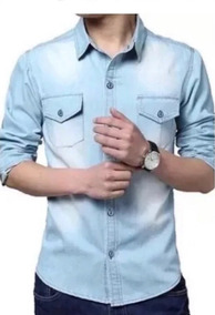 Kit 2 Camisas Social Jeans Masculina Tecido Leve Slim Fit