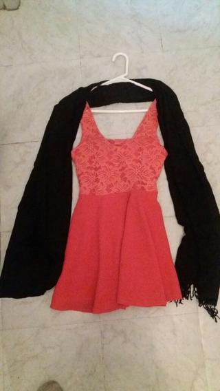 Vestido Fiesta +chalina Negra