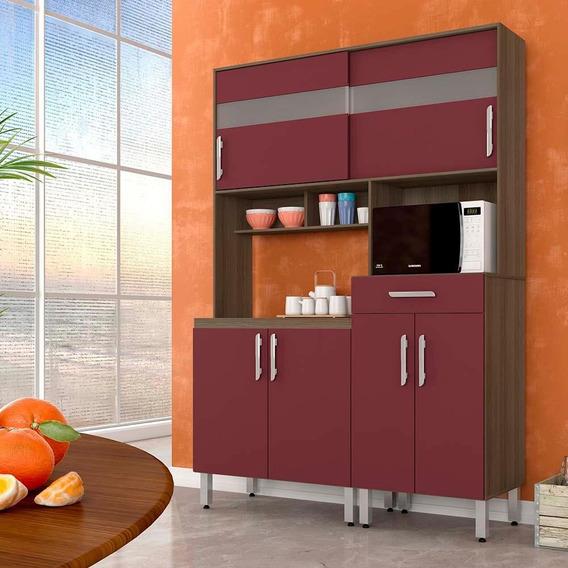 Armário De Cozinha Tália 6portas 1 Gaveta Terraro/fucsia