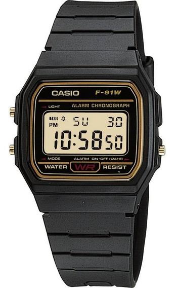 Relógio Casio F91wg Serie Ouro Nota Fiscal Original Retro