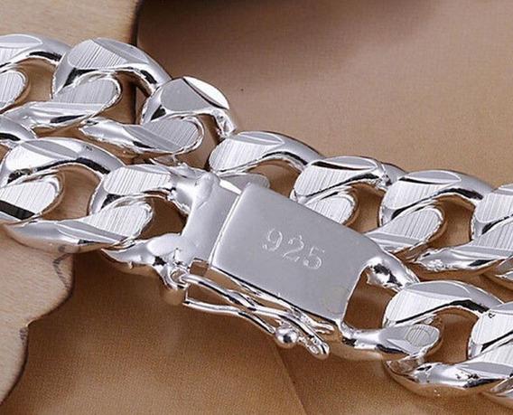 Pulseira Masculina Feminina Banhado Prata 925 21 X 1 Cm