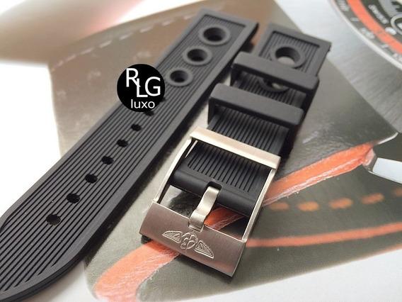 Pulseira Borracha Breitling 24mm Completa - Linda ! Nova.