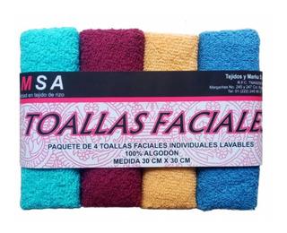 Paquete De 4 Toallas Faciales 100% Algodon Colores Surtidos