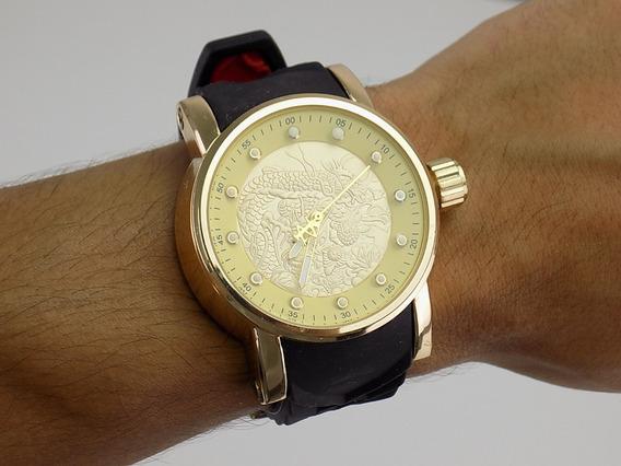 Relógio Masculino Chave Dourado Puseira Borracha Barato