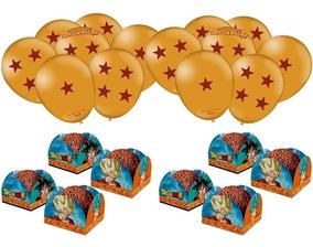 Dragon Ball Kit Decoração Festa 25 Balões 40 Forminhas Doces
