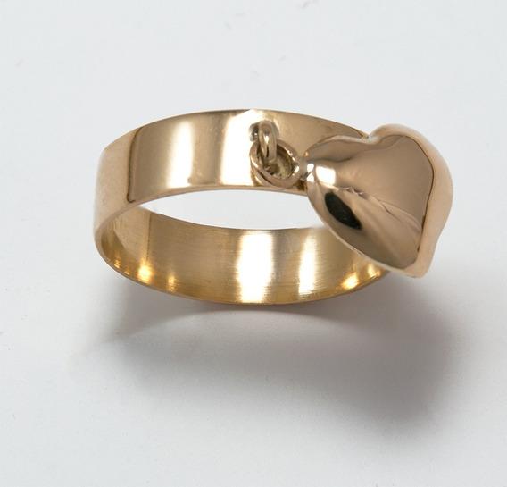 Anel Com Pingente De Coração Pendurado Ouro 18k