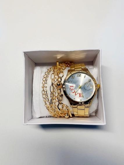 Kit Relógio Feminino +pulseira Acompanha Caixa.