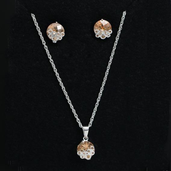 Colar E Brincos Feminino Coração Cristal Prata Maciça 925