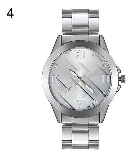 Relógio De Pulso Visor Geométrico Pulseira De Aço Ref.279/2
