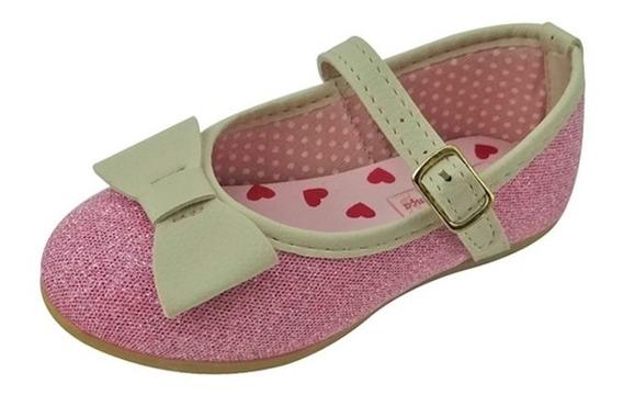 Sapato Boneca Baby Com Laço Com Glitter - Rosa