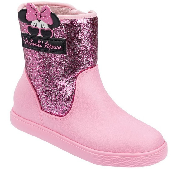 Kit 1 Bota Infantil Disney Minie Shine 22031 + 1 Chinelo