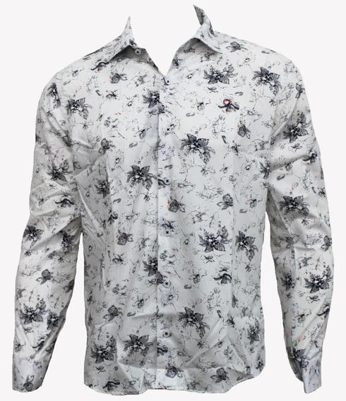 Camisa Ogochi Masculina Social Branca Estampada 001418762