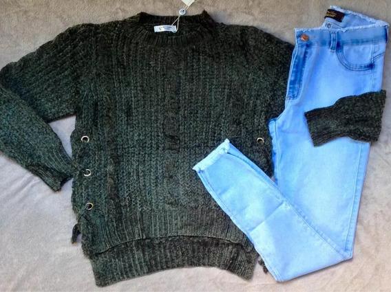 Kit Blusa Tricot Veludo + Calça Jeans Cintura Média Feminino