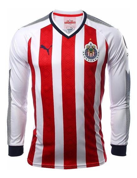 Playera Jersey Puma Chivas De Guadalajara Manga Larga 2018.