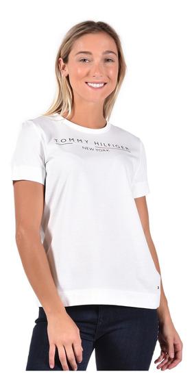 Playera Tommy Hilfiger Blanco Ww0ww25603-100 Mujer