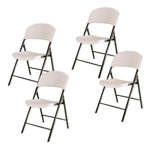 Kit 4 Cadeiras Em Metal Dobrável Branca Assento De Plástico