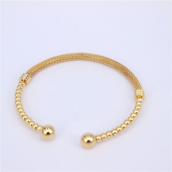 Bracelet Jóia Fina Em Aço Inox, Cor Ouro Em Forma De Bolas