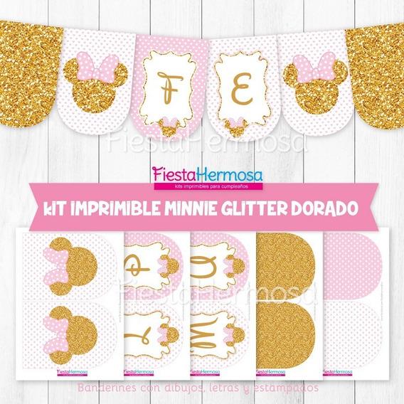 Kit Imprimible Minnie Mouse Dorado Y Rosa Candy Bar