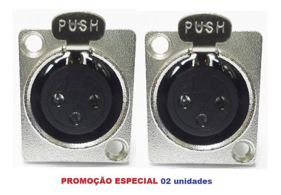 Plug Conector Xlr Canon Femea Painel Tipo Neutrik 2 Unidades