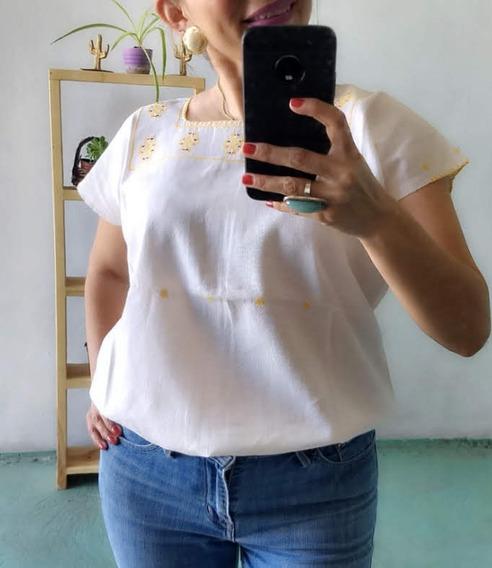 Blusa Dama Bordado Punto De Cruz Oaxaca Talla Mediana