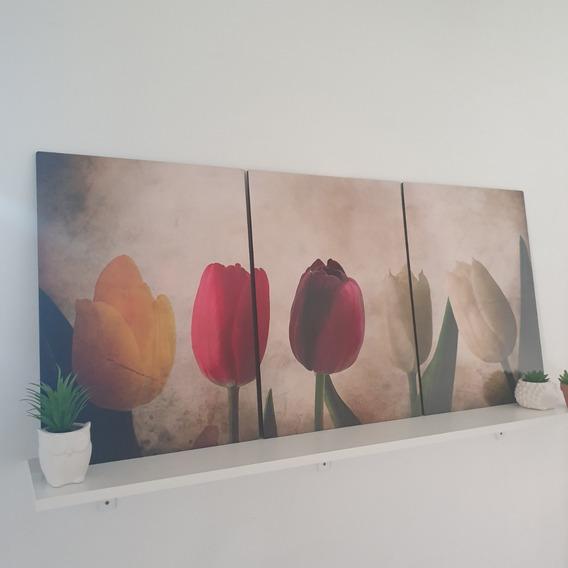 Oferta Triptico Flores Cuadros Decorativos 132x62cms Fw07
