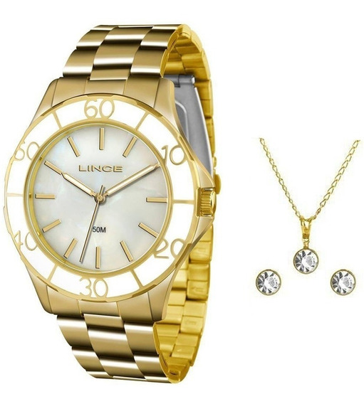 Relógio Lince Feminino Dourado Lrgj067l B1kx + Kit