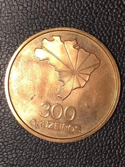 Moeda Brasileira 300 Cruzeiros - Ouro 22k - 16,73g
