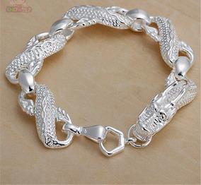 Bracelete Pulseira Masculina Prata 925. Dragão Trançado.