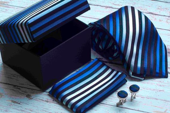 Set De Corbata, Mancuernillas Y Pañuelo Azul Con Negro