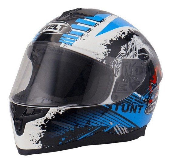 Capacete Helt New Race Stunt Branco / Azul / Preto