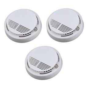Detector De Fumaça Kit 3 Unidades Sensor Alarme De Incêndio