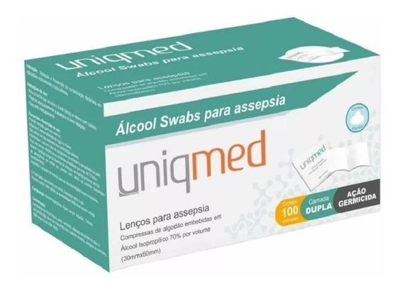 Lenço Compressa Para Assepsia Álcool Swabs 70% Uniqmed