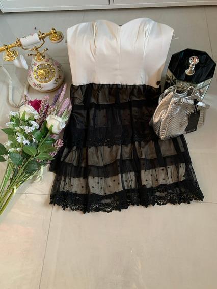 Vestido Muaa, Blanco Y Negro En Raso Y Encaje. T: 3 Nuevo.