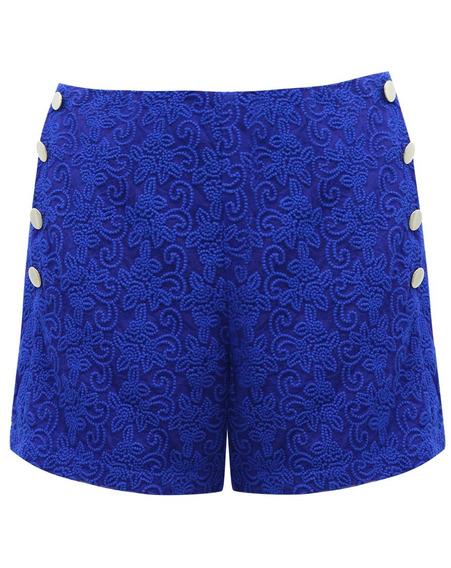 Shorts Bermuda Feminino Cintura Alta Em Renda Com Botões