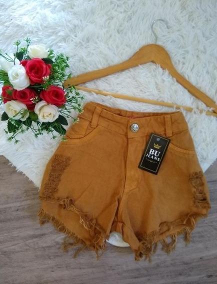 Shorts Jeans Luxo Feminino Destroyed Cintura Alta Hot Pants