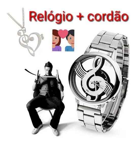 Relógio Masculino Clave De Sol + Cordão Claves Promoção
